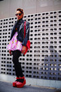 Light-pink-disney-print-spinns-skirt-black-studded-romwe-jacket