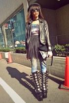 black Demonia boots - black romwe jacket - periwinkle galaxy print tights