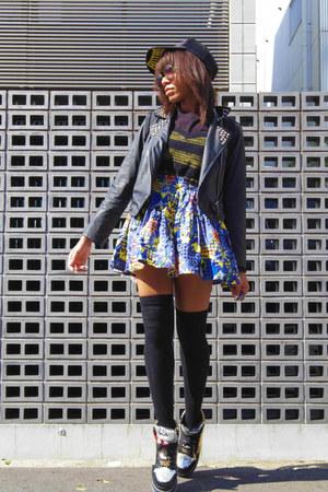 blue batman print spinns skirt - black street shop hat - black romwe jacket