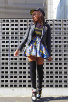 blue batman print spinns skirt - black street shop hat - black romwe jacket