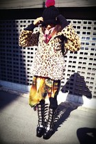 black Demonia boots - camel leopard print wc jacket - bubble gum JSG sweater