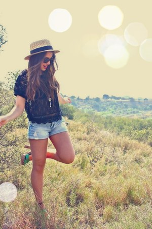 H&M hat - light blue denim shorts Primark shorts - black lace H&M top