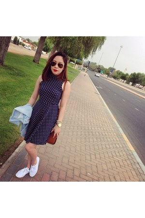 blue polka dot cotton on dress - sneakers