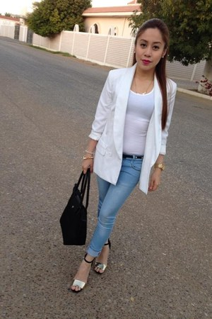 white blazer - denim jeans - white top - Payless sandals