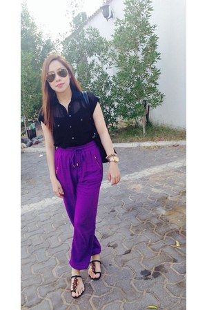 deep purple harem pants new look pants - black sheer top