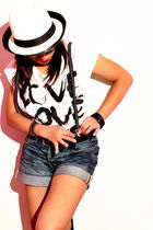 white Forever 21 shirt - white ladies fedora Forever 21 hat