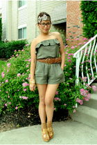 brown braided Forever 21 belt - brown wedges wild diva shoes