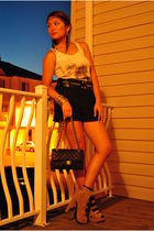white Forever 21 top - black Forever 21 shorts - brown Forever 21 shoes - black