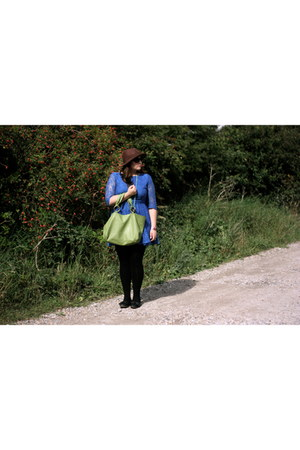 blue Topshop dress - crimson H&M hat - chartreuse Topshop bag
