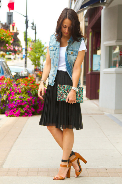 Forever 21 skirt - Gap jacket - Zara wallet - Zara heels