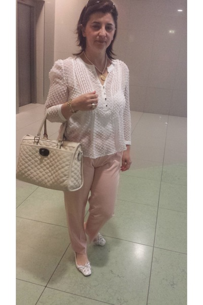 Cream Parfois Purses, Off White Mango Blouses, Light Pink ...