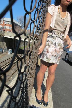 structured Topshop skirt - navy blue Salvatore Ferragamo flats
