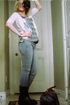 brown Frye boots - silver Target top - white Target cardigan