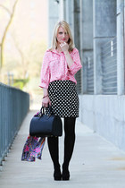 black Louis Vuitton bag - pink bow print modcloth blouse - black polka dot modcl