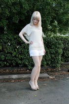 beige Forever 21 top - beige Jeffrey Campbell shoes - white American Eagle short