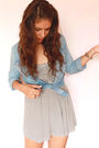 Blue-pull-bear-shirt-gray-zara-dress