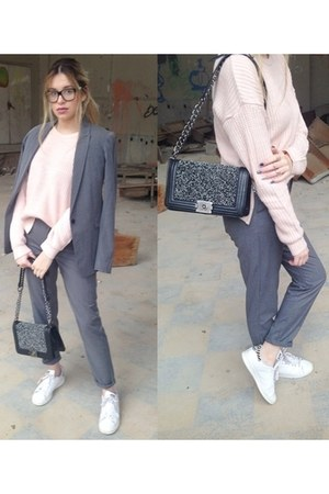 Pin Up bag - heather gray pull&bear jacket - heather gray Stradivarius pants