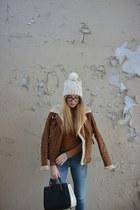 suede Bershka jacket - Stradivarius boots - Bershka jeans - Zara bag