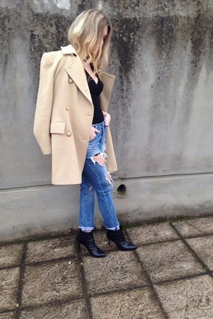 Zara coat - Sante shoes - Bershka jeans - bag - Bershka top