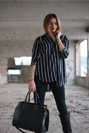 striped Bershka shirt - Local store boots - Guess jeans - leather Bershka jacket