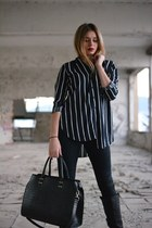 striped Bershka shirt - Local store boots - Guess jeans - leather Bershka jacket