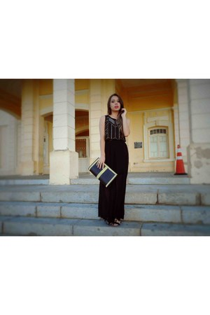 black bag - black chiffon top - black chiffon skirt