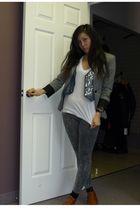 gray Zara blazer - blue vintage vest - white American Apparel t-shirt - donna ka