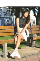 black briefcase Chanel bag - white ankle high aa socks - white zipper Jeffrey Ca