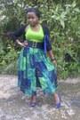 Skirt-blue-unknown-bag-lime-green-h-m-vest-blue-peeptoes-candies-heels