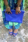 Skirt-blue-unknown-bag-lime-green-h-m-vest-blue-peeptoes-candies-heels