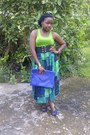 Blue-unknown-bag-lime-green-h-m-vest-blue-peeptoes-candies-heels-skirt