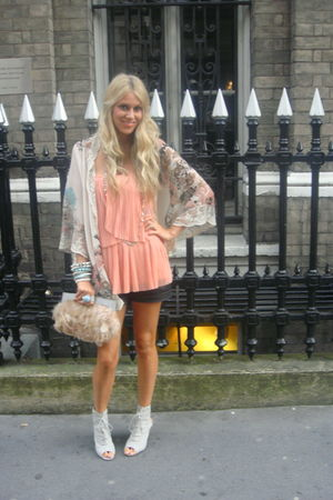 orange Topshop top - beige asos bag - black asos shorts - beige asos jacket - gr