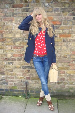 blue Topshop jeans - navy Camden Market blazer - neutral Primark bag - beige Riv