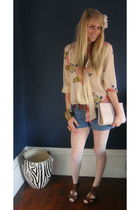 brown Topshop shoes - beige Topshop blouse - blue Forever 21 shorts - Primark pu