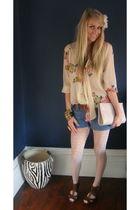 brown Topshop shoes - beige Topshop blouse - blue Forever 21 shorts - Primark pu