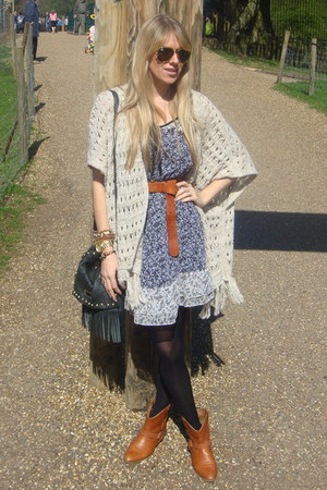 tan Newlook boots - blue asos dress - beige Primark cardigan - tan H&M belt