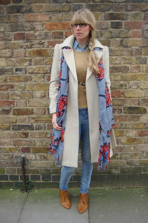 tan Newlook boots - light blue Topshop jeans - blue gift scarf - beige next jump