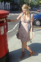 brown new look boots - pink TK Maxx dress - gold Primark bracelet