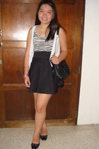 white - black top - black skirt - black bought in Hongkong shoes - black purse -