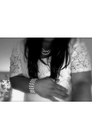 white lace dress - bling accessories