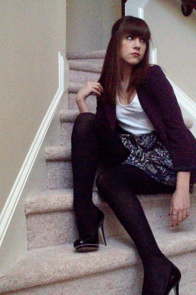 white Charlotte Russe shirt - purple Silence & Noise blazer - blue Walter skirt