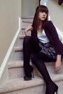 White-charlotte-russe-shirt-purple-silence-noise-blazer-blue-walter-skirt-
