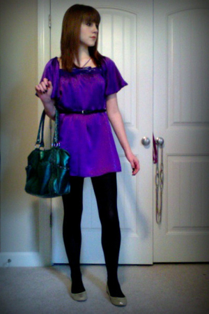 purple Voom by Joy Han dress - gold Samuel shoes - black Aldo belt