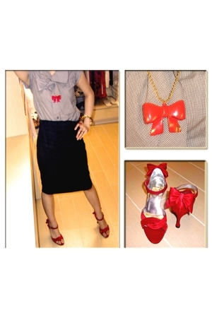 random from SOGO top - LIENA collection skirt - LYNN by liena shoes - random fro