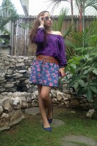 violet floral St Francis Square skirt - purple heart print Forever 21 sweater