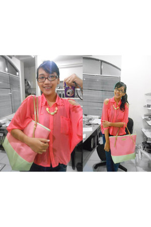 salmon cut out blouse Magnolia blouse - pink Charles & Keith bag - necklace