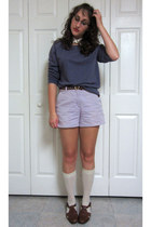 puce long sleeve Forever 21 sweater - light purple high waisted shorts