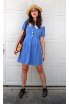 sky blue dress - dark brown lace up ankle boots - camel straw hat