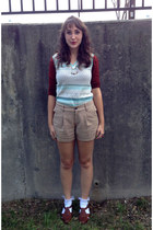 tan Old Navy shorts - brown shoes - brick red knit Old Navy shirt