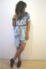 Aldo-boots-denim-shirt-skirt-hype-t-shirt